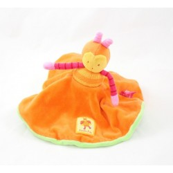 Doudou Abeille Louna MOULIN ROTY orange et verte cache cache reversible