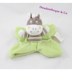 Doudou flat Zebra KIMBALOO leaf green grey white La Halle 18 cm
