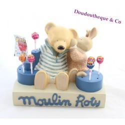 Présentoir magasin porte sucette MOULIN ROTY ours et lapin statue en plâtre 25 cm