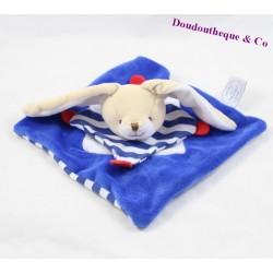 Doudou plat lapin DOUDOU ET COMPAGNIE marin bleu blanc 19 cm