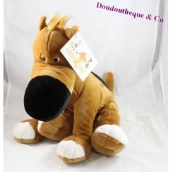 Peluche chien Rantanplan LASCAR PELUCHE Lucky Luke marron 45 cm