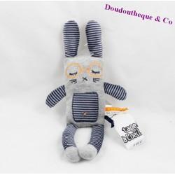 Doudou lapin Gad TAPE A L'OEIL Tao gris bleu rayures 30 cm
