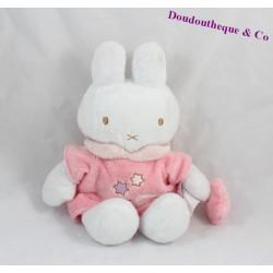 Peluche, doudou lapin Miffy blanc et rose étoiles brodées 26 cm