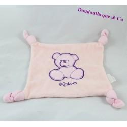 Doudou plat ours KALOO carré rose violet 4 noeuds ourson 23 cm