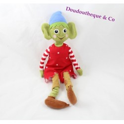 Plush Elf IKEA Krullig green dress red white pea 35 cm