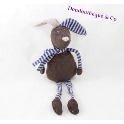 Doudou lapin BOUT'CHOU marron rayé bleu gris écharpe 41 cm