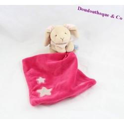 Doudou lapin BABY NAT' mouchoir rose fushia étoiles luminescent brille dans le noir