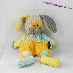 Doudou lapin HISTOIRE D'OURS Bric à brac jaune 33 cm