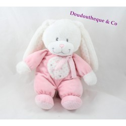 Plush rabbit TEX BABY pink white stars scarf Carrefour 27 cm