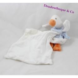 Doudou mouchoir oie SUCRE D'ORGE bleu blanc canard 35 cm