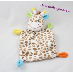 Doudou plat girafe BABY CLUB C&A coins multicolores 26 cm