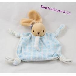 Doudou rabbit flat Teddy blue tiles 4 knots 15 cm