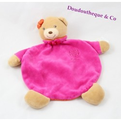 Doudou plat ours KALOO signe chinois rose orange 25 cm