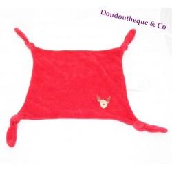 Doudou plat cerf VERTBAUDET rouge carré 4 noeuds élan