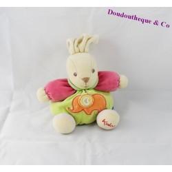Doudou boule lapin KALOO éléphant rose et vert 18 cm