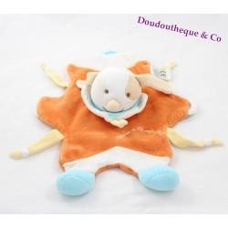 Doudou plat Hector chien DOUDOU ET COMPAGNIE cocard marron marionnette orange bleu