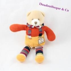 Doudou ours DOUDOU ET COMPAGNIE laine orange jaune jambes rayées 20 cm