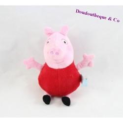 Peluche Peppa Pig PMS cochon rose habit rouge 18 cm