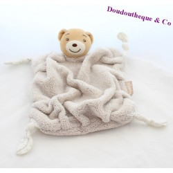 Doudou plat ours KALOO Plume beige 4 noeuds tissus 24 cm