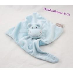 Doudou marionnette hippopotame Bébé 9 bleu accroche-tétine 32 cm