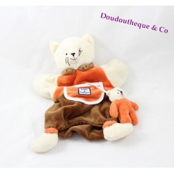 Doudou marionnette chat DOUDOU ET COMPAGNIE chaton orange marron 25 cm