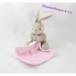 Doudou lapin Grain de blé mouchoir rose bonbon 30 cm