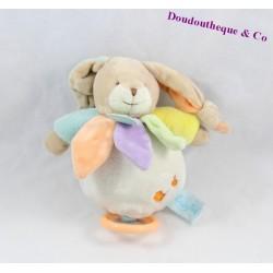 Doudou musical lapin BABY NAT Arc-en-ciel pétale BN026 17 cm