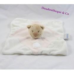 Doudou plat Ours nuage rose et blanc NATTOU 24 cm