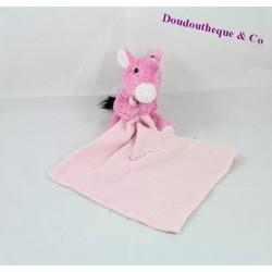 Doudou mouchoir âne CORSICA rose 12 cm