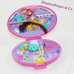 Boîte Polly Pocket BLUEBIRD ovale rose cheval Pony parade 2 personnages