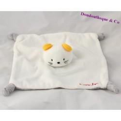 Doudou plat chat LA HALLE BRIOCHE souris blanc gris oreilles jaunes noeuds 21 cm