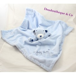 Doudou plat ours PRIMARK EARLY DAYS Baby bear bleu 45 cm