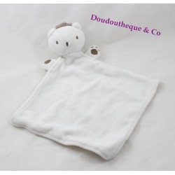 Doudou plat ours SERGENT MAJOR couronne blanc beige Mon premier major 30 cm