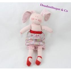 Doudou lapin PETIT BATEAU rose jupe fleuris tulle rouge 25 cm