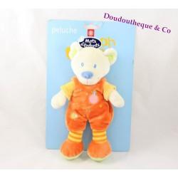 Peluche ours MOTS D'ENFANTS orange jaune poussin 25 cm