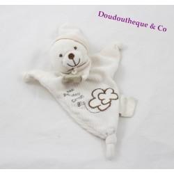 Doudou triangle ours bio BABY NAT' fleur de coton blanc 28 cm
