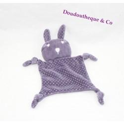 Doudou plat lapin POMMETTE violet pois noeuds 18 cm