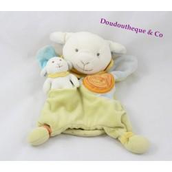 Doudou marionnette Simon mouton DOUDOU ET COMPAGNIE avec bébé vert bleu
