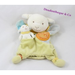 Doudou puppet Simon sheep DOUDOU AND COMPAGNIE with baby blue green
