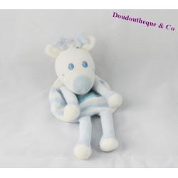 Doudou plat cerf SUCRE D'ORGE renne bleu blanc 22 cm