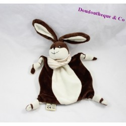 Doudou rabbit flat the small Mary Brown white bandana 22 cm
