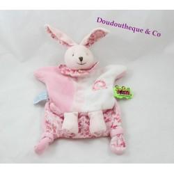 Doudou marionnette lapin DOUDOU ET COMPAGNIE Tatoo fleurs rose spirale