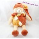 Peluche ours DOUDOU ET COMPAGNIE Cannelle collector orange 40 cm