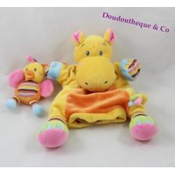 Doudou marionnette hippopotame NICOTOY avec poussin orange jaune rayures