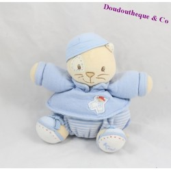 Doudou boule chat KALOO bleu enfant rayures 18 cm