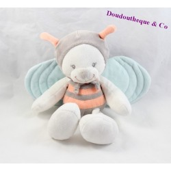 Peluche abeille NATTOU Bubbles orange gris bleu 27 cm