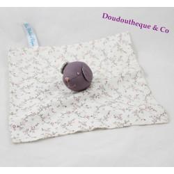 Doudou flat bear babies of Elysea purple white floral square fabrics 27 cm