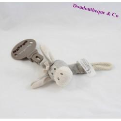 Attache sucette âne NATTOU Cappuccino gris 23 cm