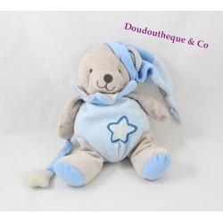 Doudou ours BABY NAT' Luminescent gris bleu étoile 20 cm