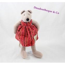Doudou Nini la souris MOULIN ROTY La Grande Famille robe rouge 30 cm